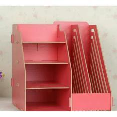 DIY Stationery Rack Rak Buku Kayu Rak Buku Portable A340 - Pink
