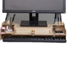 DIY Kayu Desktop Komputer Desktop Penempatan Kantor Meja Keyboard Kotak Penyimpanan-Intl