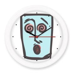 Dizzy Abstract Face Sketch Emoticons Online Chat Silent Non-ticking Round Wall Decorative Clock Battery-operated Clocks Gift Home Decal - intl