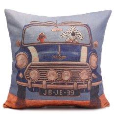 Anjing Bergambar Cushion Cover Car Seat Linen Campuran Lempar Bantal Dekorasi Rumah (Biru)