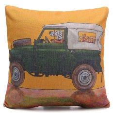 Anjing Bergambar Cushion Cover Car Seat Linen Campuran Lempar Bantal Dekorasi Rumah (Kuning)