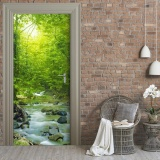 Harga Door Mural 3D Fresh Forest Waterfall Door Sticker Self Adhesive Waterproof Wallpaper Post For Home Decor 30X79 77X200Cm Intl Yg Bagus