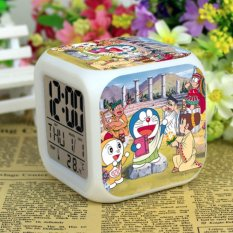 Jual Beli Doraemon Alarm Clock Digital Klokken Electronic Desk Watch Wake Up Light Plastic Led 7 Color Intl Tiongkok