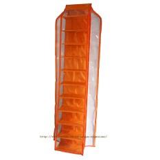 D'Organizer - Rak Gantung Organizer - HSO Hanging Shoes Organizer Zipper Orange