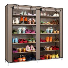 Double Shoe Rack 7Th 12 Layers With Dust Cover Rak Sepatu Coklat Murah