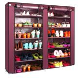 Toko Double Shoe Rack 7Th 12 Layers With Dust Cover Rak Sepatu Maron Terlengkap