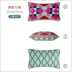 Double-sided linen sofa pillow ins Nordic IKEA geometric pillow lumbar pillow bed pillow cover not containing core