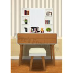 Dove S Furniture Meja Rias Minimalis Mr 018 2 Laci Besar 2 Laci Kecil Cermin Dapat Di Buka Tutup Brown Promo Beli 1 Gratis 1