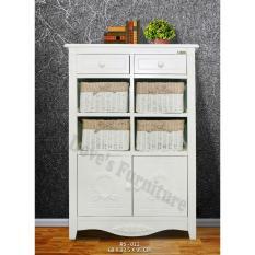 Dove's Furniture Rak Serbaguna Minimalis RS-011 - 2 Drawer 4 Basket 2 Pintu – putih  FREE ONGKIR Jawa + Bali