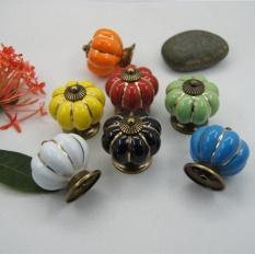 Laci Kenop Labu Keramik Gagang Sederhana Mebel Perangkat Keras Dekoratif Tarik Kabinet/Lemari/Lemari/Pintu (7 warna Per Bungkus) -Internasional