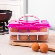 Dsstyles Ganda Portabel-Lapisan 24 Grid Anti-tabrakan Telur Menjaga Segar Kotak Penyimpanan