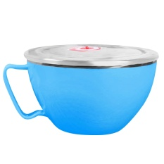 Dual Layer Stainless Steel Instan Mie Ramen Sup Pasta Bowl Makanan Segar Container Lunch Rice Bowl dengan Penutup Tutup 900 Ml Biru-Intl