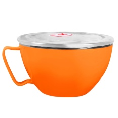 Dual Layer Stainless Steel Instan Mie Ramen Sup Pasta Bowl Makanan Segar Container Lunch Rice Bowl dengan Penutup Tutup 900 Ml Orange-Intl
