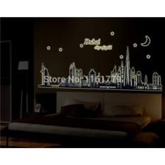Dubai Kota Emas Cahaya Dalam The Gelap Bedroom Sofa Televisi Latar Belakang Dekorasi Dinding Bercahaya Stiker Selesai ABQ9616- internasional