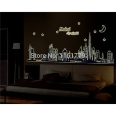 Dubai Kota Emas Glow In The Dark Tidur Sofa TV Latar Belakang RoomWall Decor Luminous Stiker Finish ABQ9616-Intl