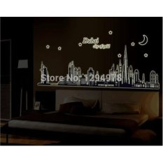 Dubai Kota Emas Glow In The Dark Tidur Sofa TV Latar Belakang Room Wall Decor Luminous Stiker Finish ABQ9616- INTL