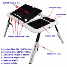 E-Table Meja Laptop Lipat / Desk Portable Plastik Cooling Fan