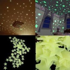 Eachgo 100 Pcs 4 Warna Fluorescent Bayi Anak-anak Kamar Tidur Ruang Tamu Star Lampu Wall Sticker 3 Cm-Intl