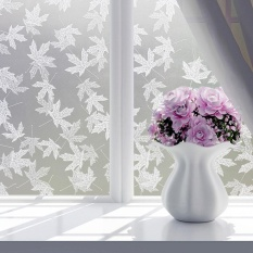 Eachgo 45*100CM Matte Maple Leaf Print Heat Protection Window Film PVC Privacy Covering Bath
