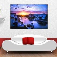 Ramah Lingkungan 3D Besar Mural Cantik Seaside Village Papel De Parede untuk Kamar Tidur Ruang Tamu & Sofa TV Wallpaper Mural