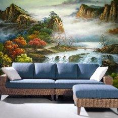 Ramah lingkungan 3D mural gaya Cina mountain view untuk kamar tidur sofa   TV wallpaper