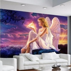Ramah Lingkungan Besar Mural Wallpaper HD Dream Perdamaian Dunia Dove Guardian Angel Girl Sunset Latar Belakang untuk Sofa TV Wallpaper Murals-Intl