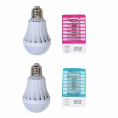 Jual Eelic Elc 2247W 2 Set 4 Pcs Pink Biru Alat Elektronik Anti Nyamuk Mini Lampu Emergency 7 Watt Branded Original