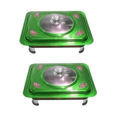Beli Eelic Ffd Bunga 2 Pcs Motif Bunga Fast Food Dish Loyang Saji Tempat Makanan Prasmanan Stainless Steel Lengkap
