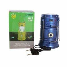 EELIC QY-5800T 1W + 6 SMD LED Warna Biru Lampu senter / Lentera Multifungsi Tenaga Surya Anti Air Dan Praktis