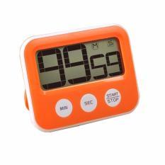 Eigia Digital LED Count Down Timer Clock JP9913 Penghitung Waktu Mundur Minimalis Desk Jam Meja Unik Moder Design Colorful Modern Bentuk Kotak Countdown Stopwatch Kitchen Cooking Setting Tools Hiasan Pajangan Dekorasi Rumah Portable - Orange