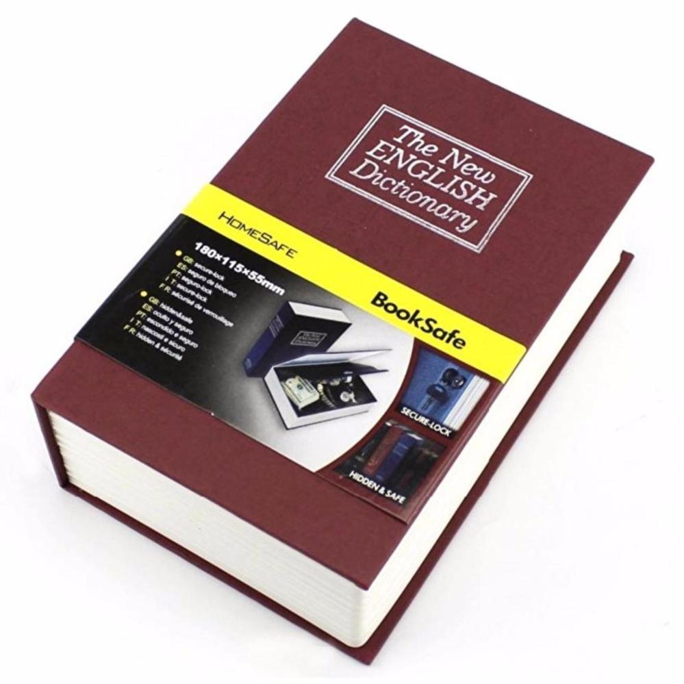Eigia Security Safety Box Brankas Bentuk Buku Kamus Dictionary Cash Metal Jewelry Key Lock Book Storage Kotak Perhiasan Uang Surat Berharga Design Unik Buka Tutup dengan Kunci Tempat Menyimpan Barang Penting Rahasia Aman Size S - Merah