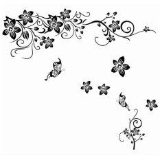 Eigia Wall Sticker Hiasan Dinding Dekorasi Bunga Batik - Hitam