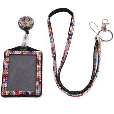 EJY Warna Bling Resin Rhinestone Crystal Custom Lanyard Kartu Kerja ID Badge Holder Multicolour