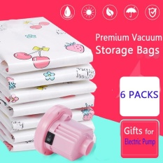Harga Electric Pump 6 Packs Premium Vacuum Storage Bags Works With Any Vacuum Cleaner Free Hand Pump For Travel Double Zip Seal And Triple Seal Storage Organisation For Compression Pack Intl Oem Ori