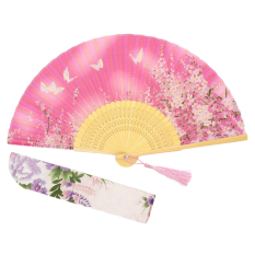 Elegan Cina Tangan Held Fan Bambu Sutra These Butterflies & Cherry Blossoms Kipas Lipat Pernikahan Decor-pink Kupu Butterflies Are (Intl)
