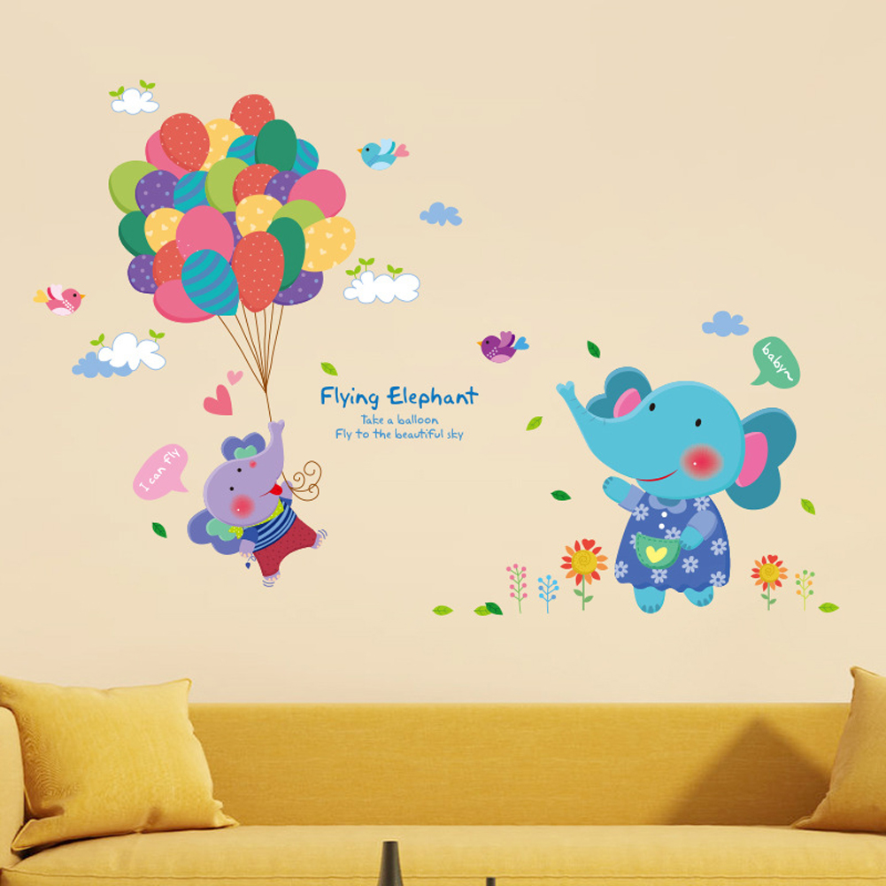 Balon Gajah Burung Bunga English Letters Wall Decal Home Sticker PVC Mural Vinyl Kertas Rumah Dekorasi Wallpaper Ruang Tamu Kamar Tidur Kitchen Art Picture DIY untuk Anak Remaja Remaja Dewasa Anak-Intl