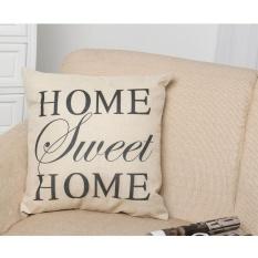 Elife 45*45 Cm HOME SWEET HOME Printed Cotton Linen Sofa Pinggang Bantal Bantal Bantal Cover-Intl