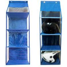 EMWE Hanging Helmet Organizer Rak Helm Gantung HHO Lemari Bag organizer Penyimpanan Sepatu Sandal Tas Boneka Aksesoris Multifungsi Sekat Triplek 3 Susun - BLUE