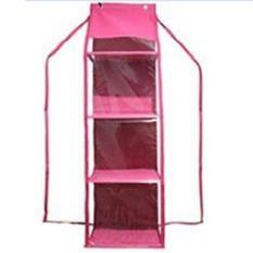 EMWE HHOZ Hanging Helmet Organizer Rak Helm Gantung Resleting Lemari Bag organizer Penyimpanan Sepatu Sandal Tas Boneka Aksesoris Multifungsi Sekat Triplek 3 Susun - Hot Pink
