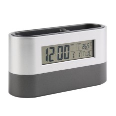 Era Multifungsi Rumah Kantor Digital Alarm Tidur Sebentar Dudukan Pena Kalender Temperature Tampilan Hitam Biru Kualitas Bagus Gratis Kapal Perak -Internasional