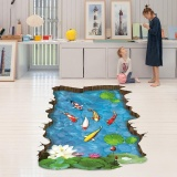 Spesifikasi Erpstore 3D Stream Floor Wall Sticker Removable Mural Decals Vinyl Art Living Room Decor Intl Lengkap