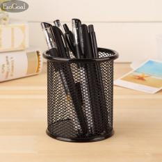 EsoGoal Black Round Steel Mesh Style Pen Pencil Cup Desk Organizer Holder untuk Home Office
