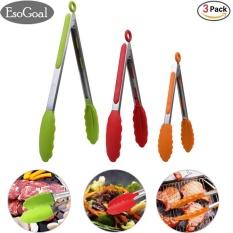 Beli Esogoal Makanan Tongs Set 3 7 9 12 Inch Heavy Duty Stainless Steel Kitchen Tongs Dengan Silicone Tips Multicolor Hijau Merah Orange Intl Dengan Kartu Kredit