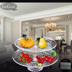 Ongkos Kirim Esogoal Piring Buah 2 Tier Acrylic Plate Untuk Buah Kue Desserts Candy Buffet Berdiri Untuk Rumah Party Dengan Free 50 Pcs Buah Garpu Intl Di Tiongkok