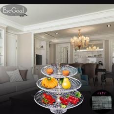 Beli Esogoal Piring Buah 3 Tier Acrylic Plate Untuk Buah Kue Desserts Candy Buffet Berdiri Untuk Rumah Party Dengan Free 50 Pcs Buah Garpu Murah Tiongkok