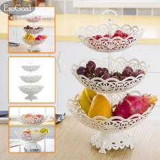 Beli Esogoal Piring Buah 3 Tier Hollow Plate Untuk Buah Kue Desserts Candy Buffet Stand Untuk Rumah Pesta Cicil