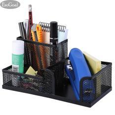 Toko Esogoal Office Desk Organizer W 3 Kompartemen Hitam Mesh Logam Koleksi Supply Caddy Online Di Tiongkok