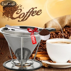 Harga Esogoal Pour Over Coffee Filter Stainless Steel Reusable Double Mesh Paperless Coffee Dripper W Bonus Coffee Scoop Bag Clip Seken