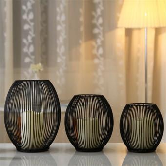 Beli sekarang Eropa Mediterania Besi Kandang Lantern Candlestick Rumah Furnishing Ornamen Pernikahan Lilin Penahan 18 Cm