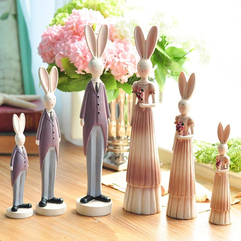 Pastoral Eropa Retro Resin Pasangan Kelinci Figurines 2 Pcs/set Kamar Pengantin Pernikahan Anggur Kabinet Dekorasi Rumah Hadiah-Intl